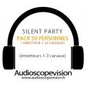 Location Pack Silent Party Disco 50 personnes, émetteur 3 canaux Nice