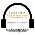 Location Pack Silent Party Disco 50 personnes, émetteur 10 canaux