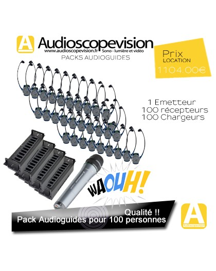 Location audiophones, Pack 100 pers, visite guidée, Montpellier, Toulouse